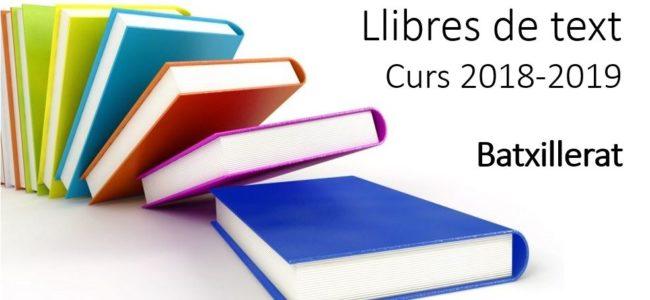 Llibres de text 2018-2019 Batxillerat